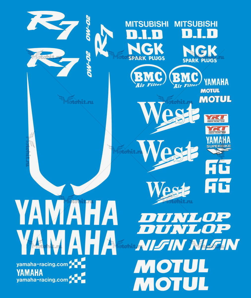 Комплект наклеек Yamaha R7 WEST