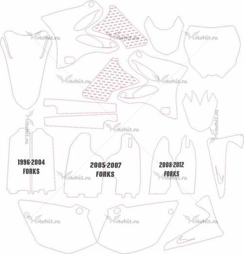 Комплект наклеек Yamaha YZ-125-250 2002-2012