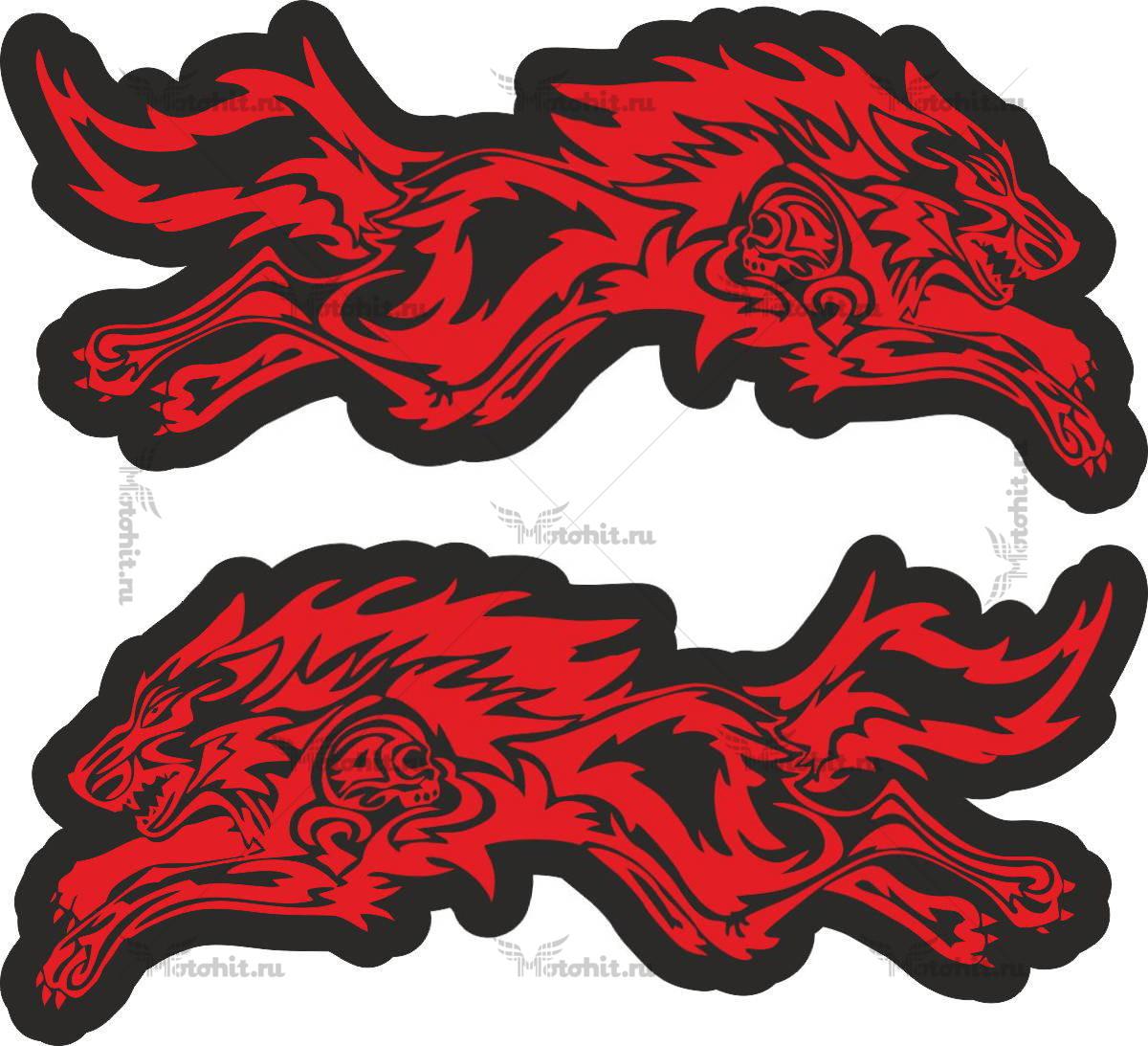 WOLF BLACK RED 10X5