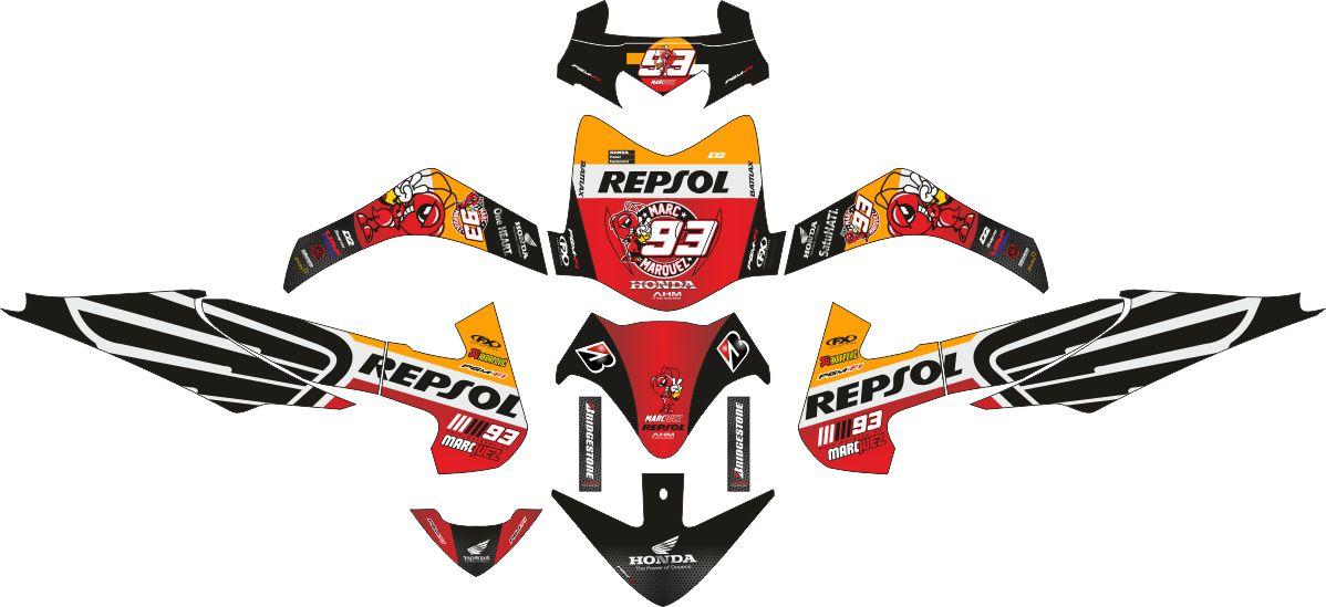 Комплект наклеек на скутер HONDA REVO MARK MARQUEZ