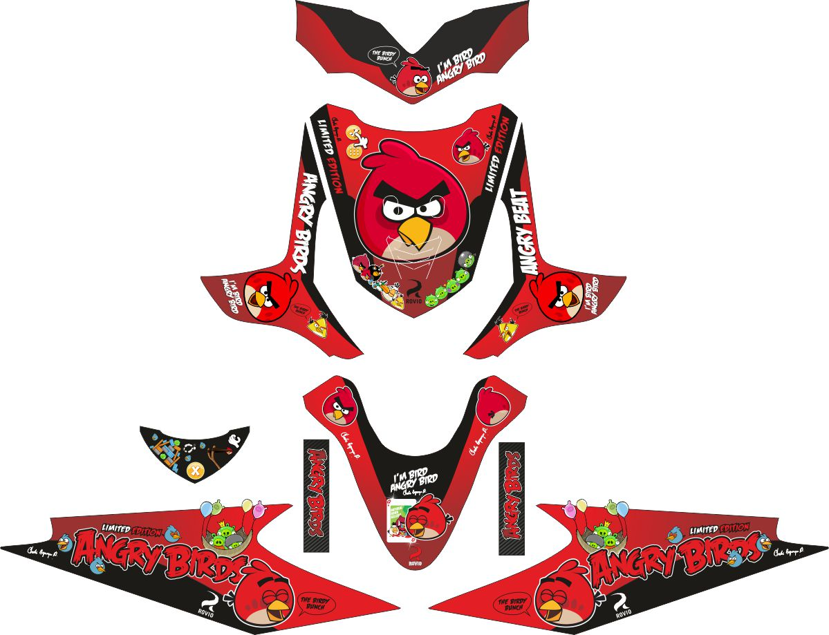 Комплект наклеек на скутер HONDA BEAT ANGRY BIRD
