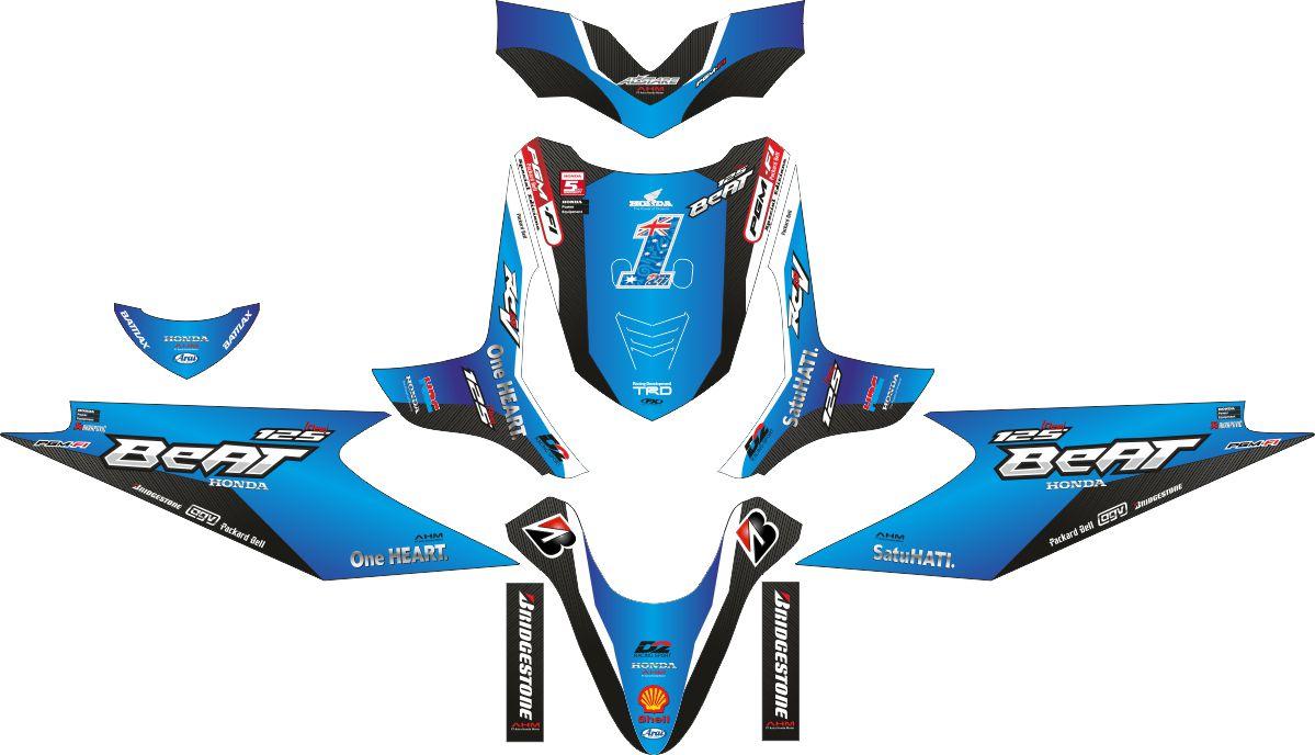 Комплект наклеек на скутер HONDA BEAT BLUE
