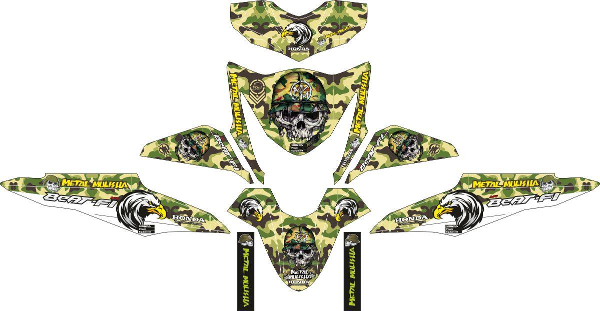 Комплект наклеек на скутер HONDA BEAT-FI ARMY STYLE
