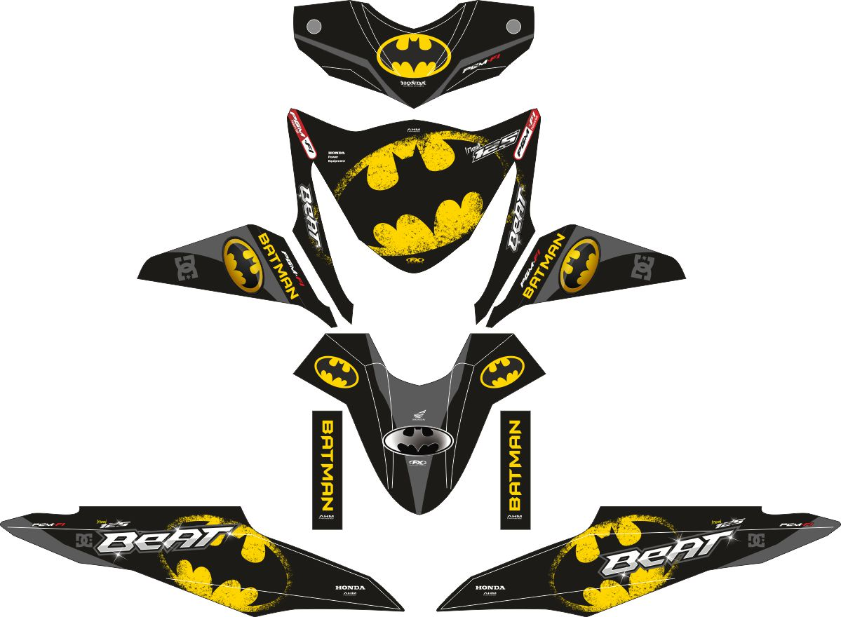 Комплект наклеек на скутер HONDA BEAT-FI BATMAN