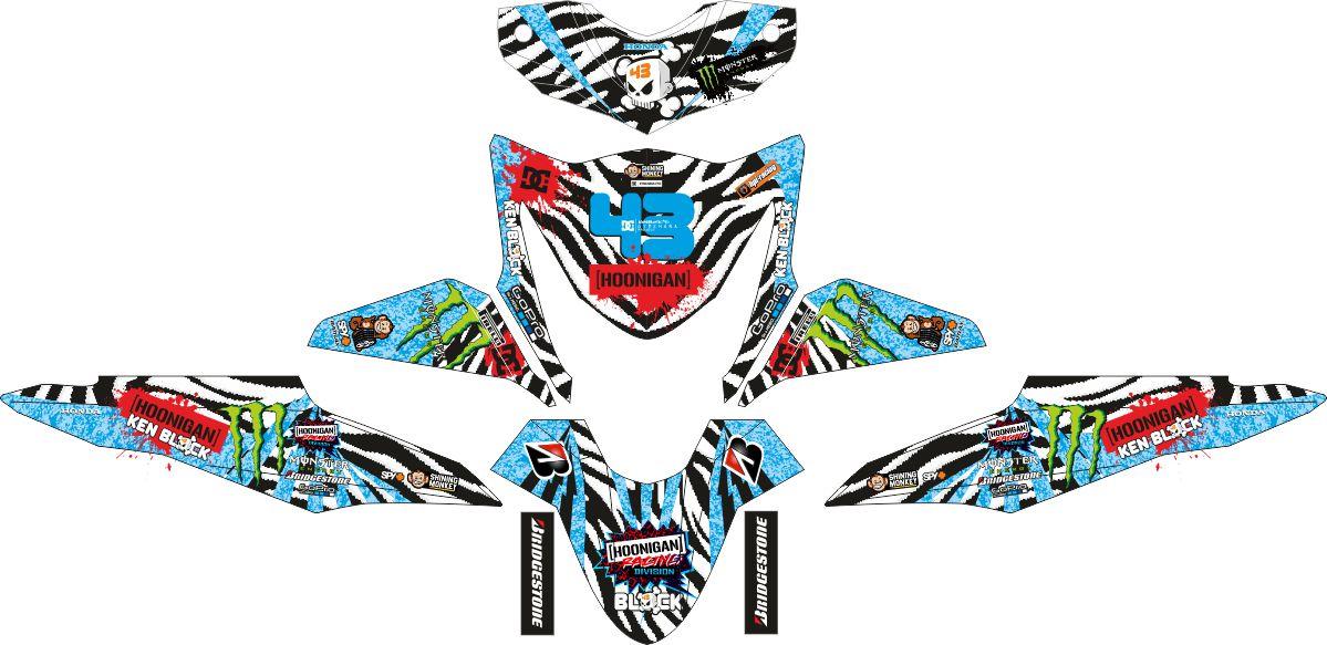 Комплект наклеек на скутер HONDA BEAT-FI HOONIGAN ZEBRA