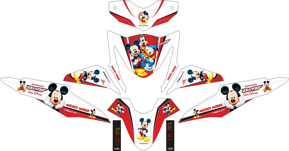 Комплект наклеек на скутер HONDA BEAT-FI MICKEY MOUSE