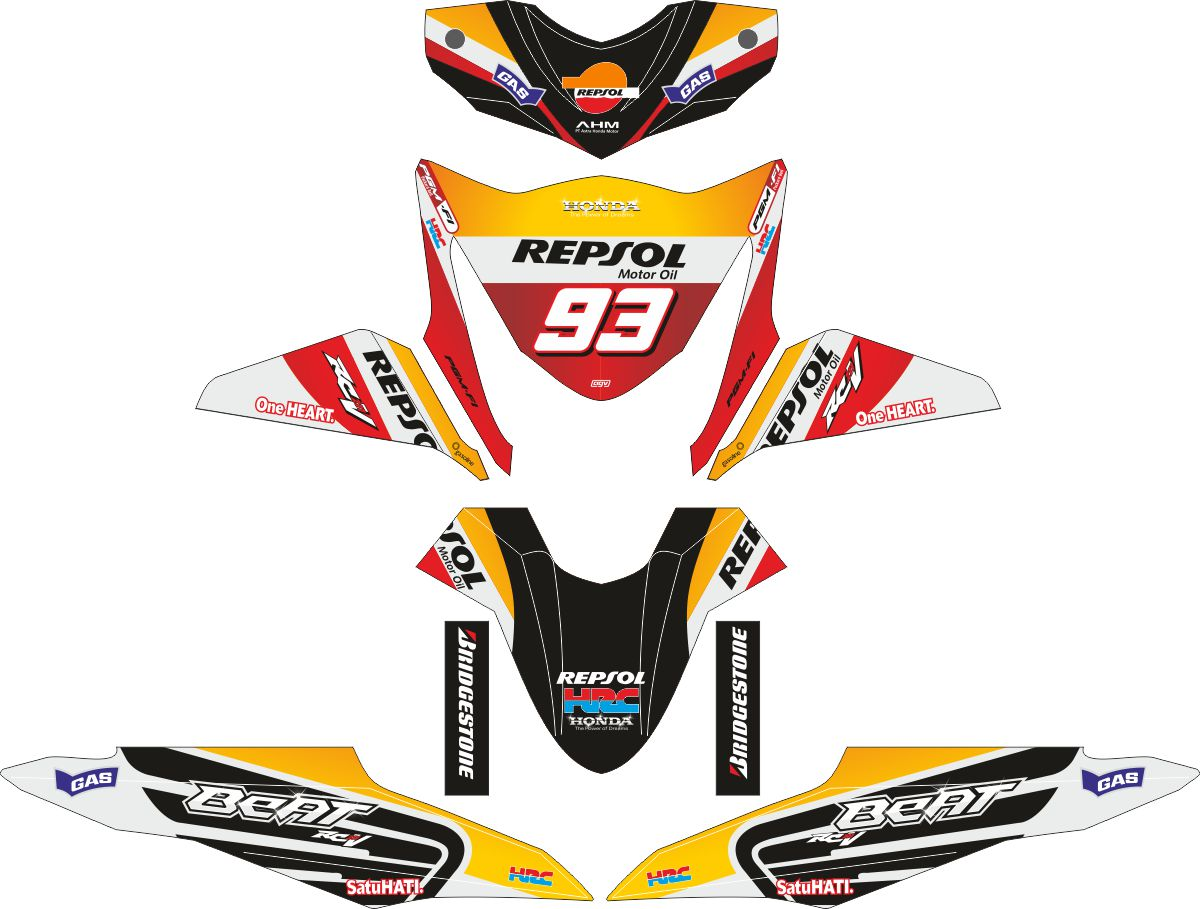 Комплект наклеек на скутер HONDA BEAT-FI REPSOL 93