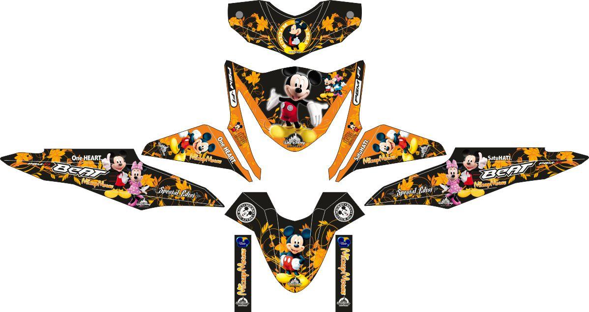 Комплект наклеек на скутер HONDA BEAT-FI SAMBA ORANGE MICKEY MOUSE