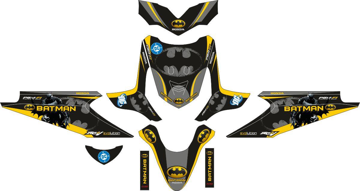 Комплект наклеек на скутер HONDA BEAT OLD BATMAN BLACK YELLOW