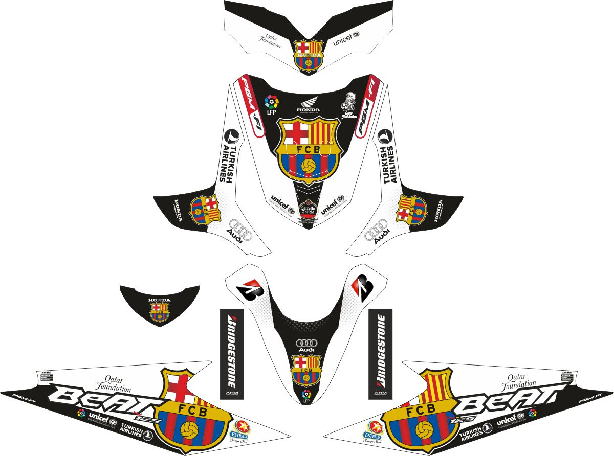 Комплект наклеек на скутер HONDA BEAT PUTIH BARCELONA FC