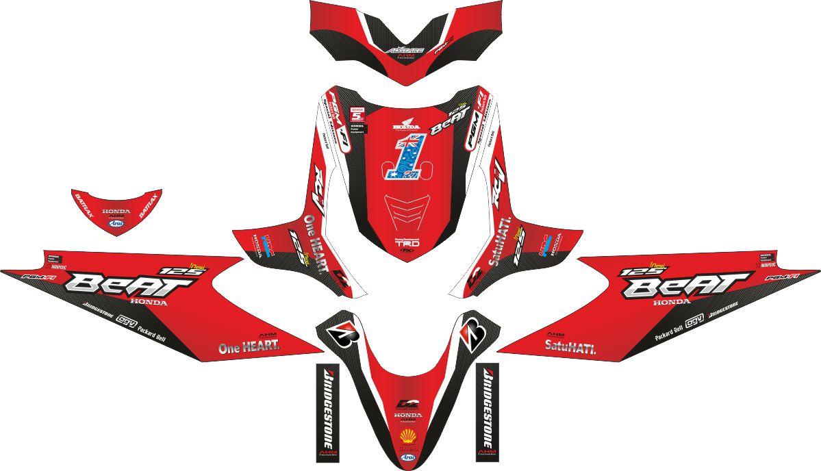 Комплект наклеек на скутер HONDA BEAT RED