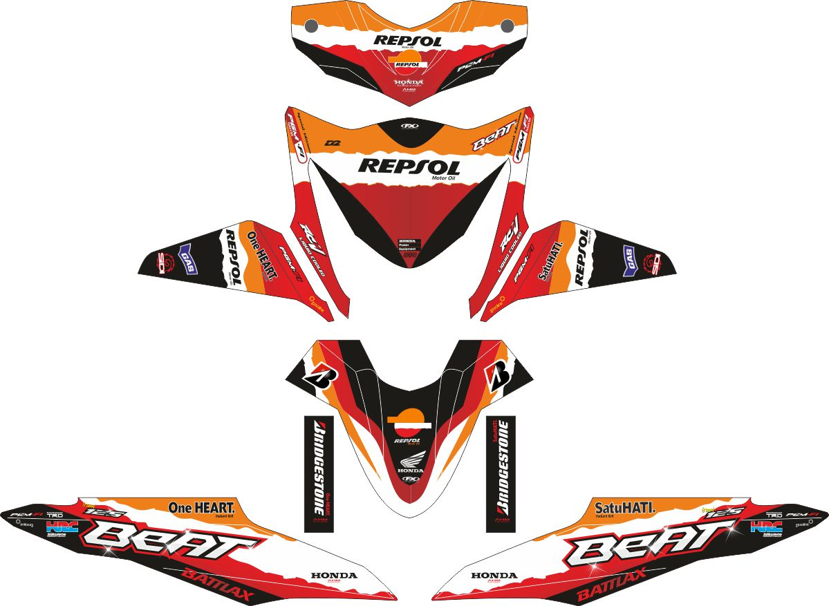 Комплект наклеек на скутер HONDA BEAT REPSOL