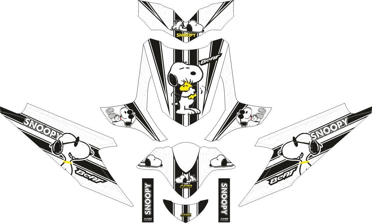 Комплект наклеек на скутер HONDA BEAT SCOOPY BLACK WHITE