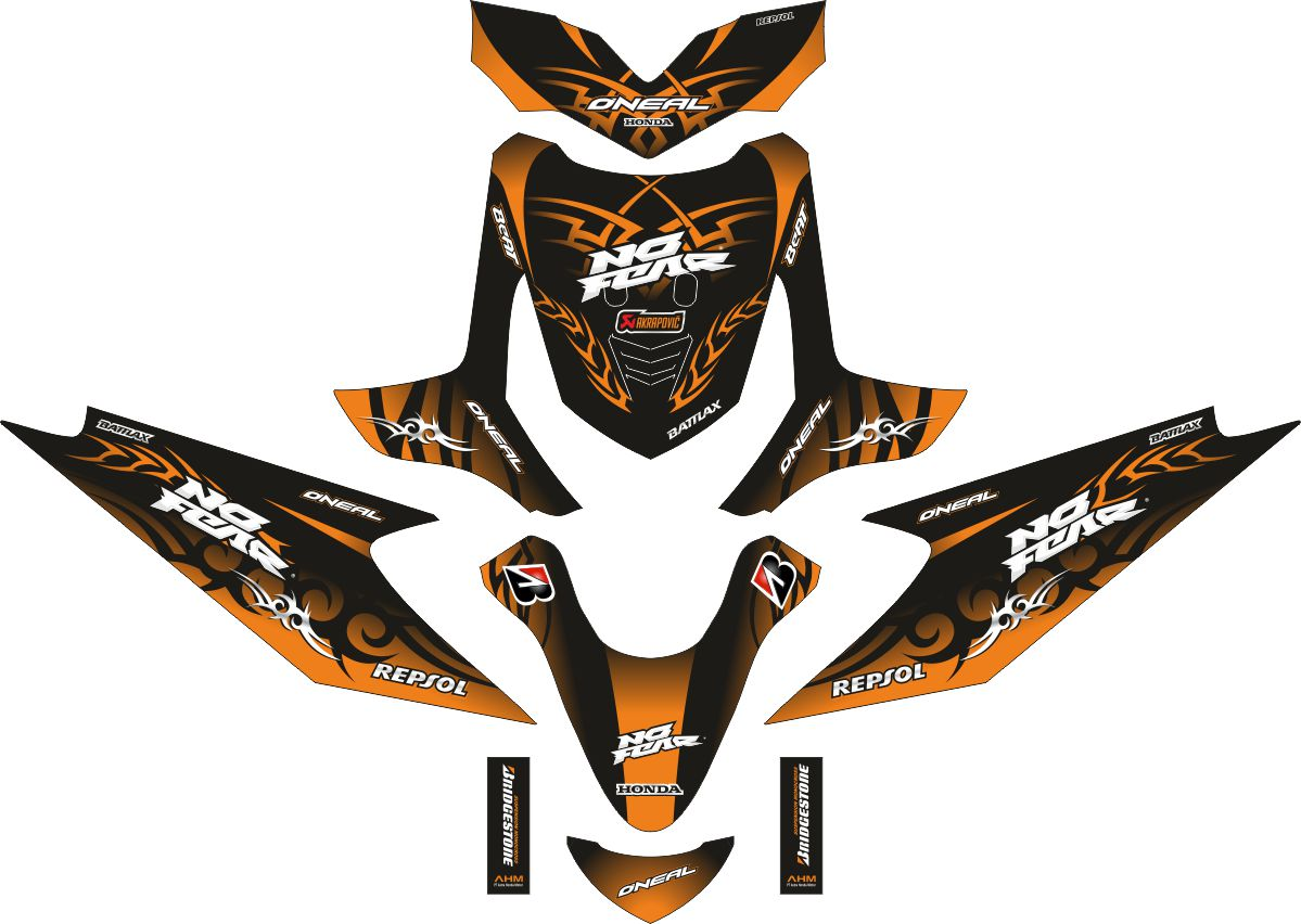 Комплект наклеек на скутер HONDA BEAT TRIBAL ORANGE