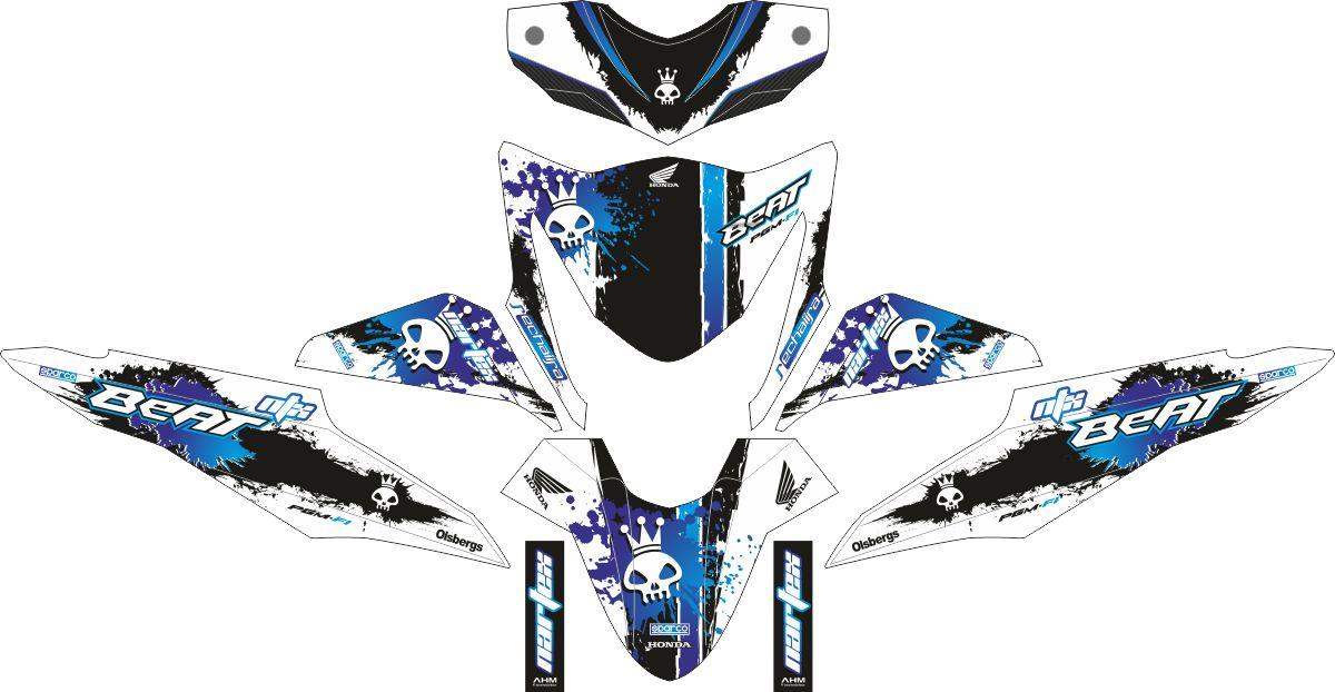 Комплект наклеек на скутер HONDA BEAT-FI BLUE SCULL