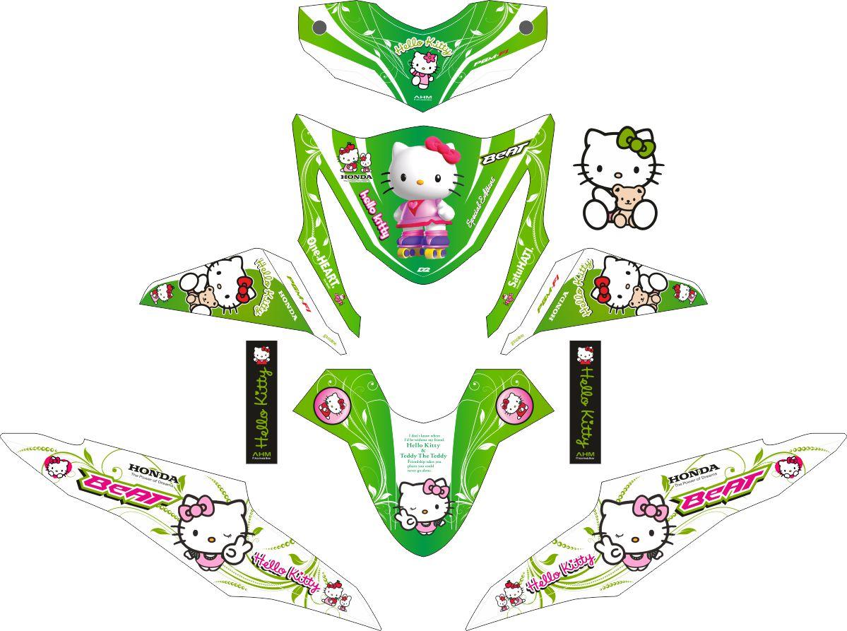 Комплект наклеек на скутер HONDA BEAT-FI HELLO KITTY GREEN