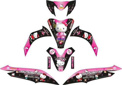 Комплект наклеек на скутер HONDA SPACY BLACK HELLO KITTY