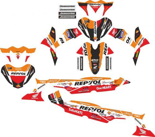 Комплект наклеек на скутер HONDA SUPRA X 125D REPSOL
