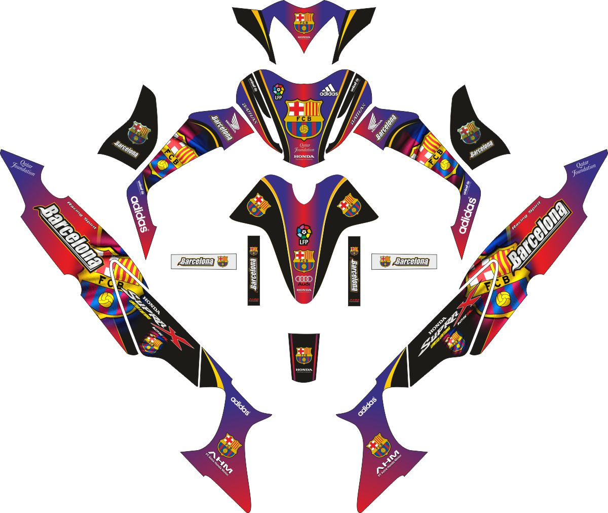 Комплект наклеек на скутер HONDA SUPRA X 125 EL BARCA FC