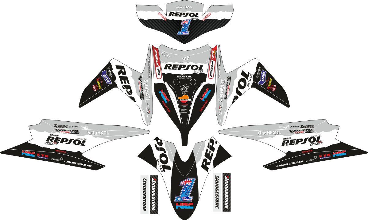 Комплект наклеек на скутер HONDA VARIO CBS TECHNO REPSOL 2