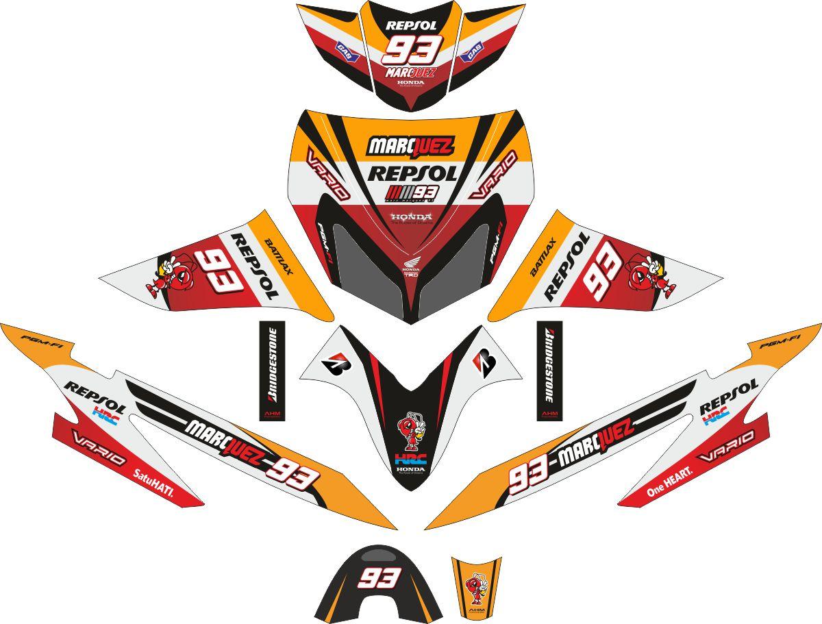 Комплект наклеек на скутер HONDA VARIO LAMA REPSOL MARQUEZ 2013