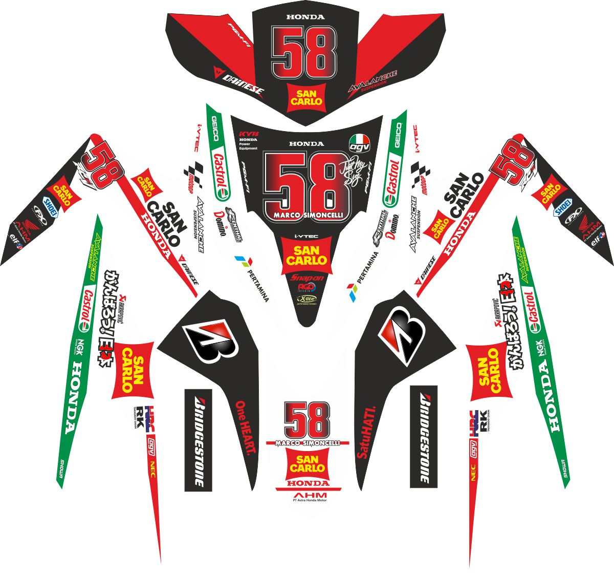 Комплект наклеек на скутер HONDA VARIO MOTO GP SIMONCELLI