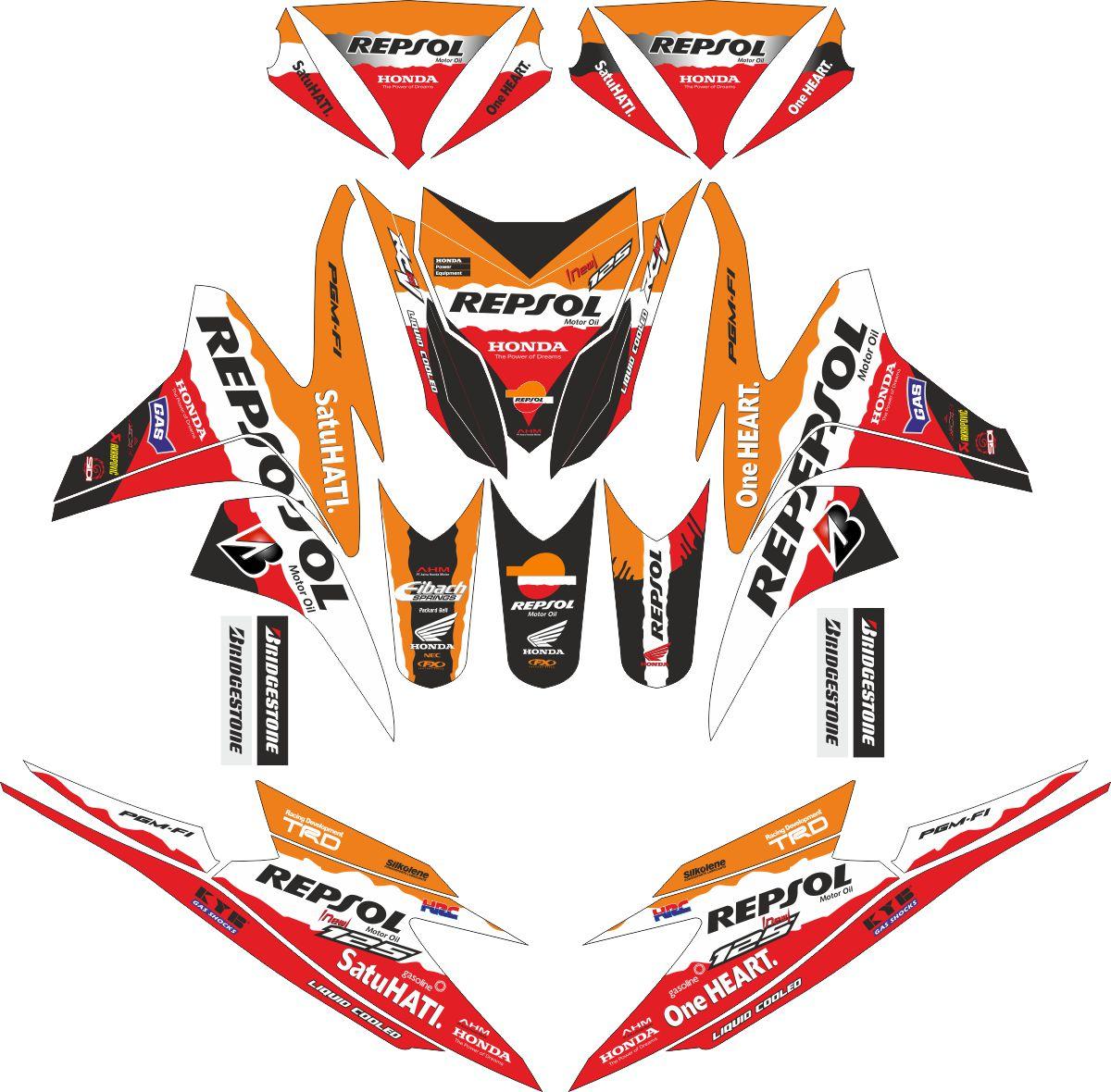 Комплект наклеек на скутер HONDA VARIO PGMFI REPSOL