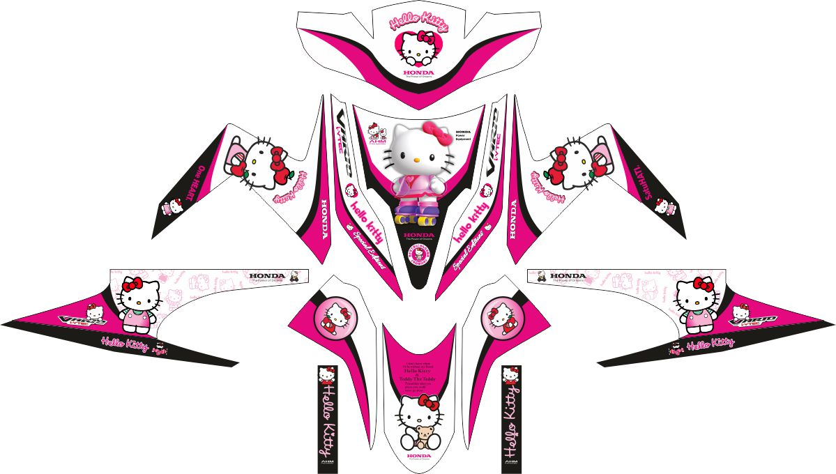 Комплект наклеек на скутер HONDA VARIO TECHNO HELLO KITTY