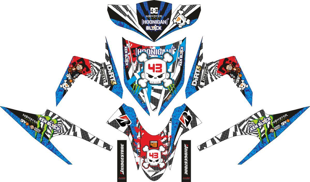 Комплект наклеек на скутер HONDA VARIO TECHNO KARBU KENBLOCK WHITE BLUE