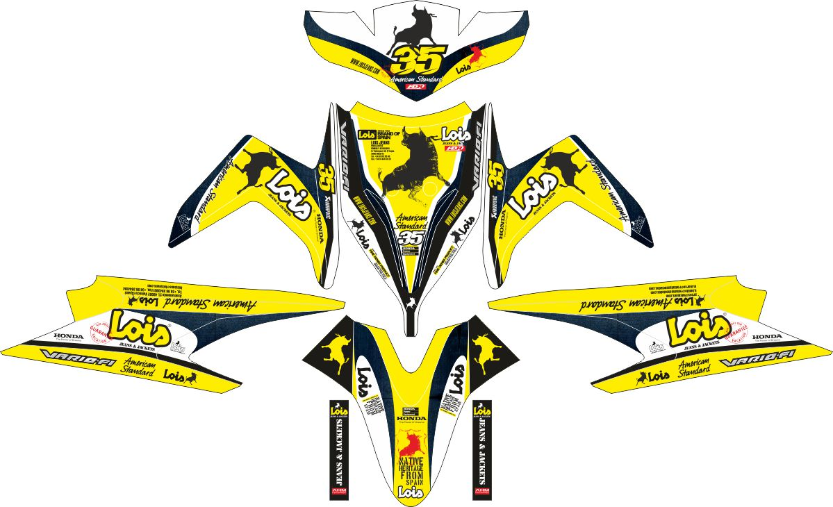Комплект наклеек на скутер HONDA VARIO TECHNO LOIS JEANS