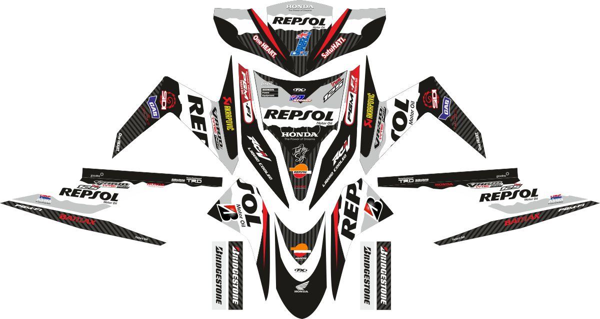 Комплект наклеек на скутер HONDA VARIO TECHNO REPSOL