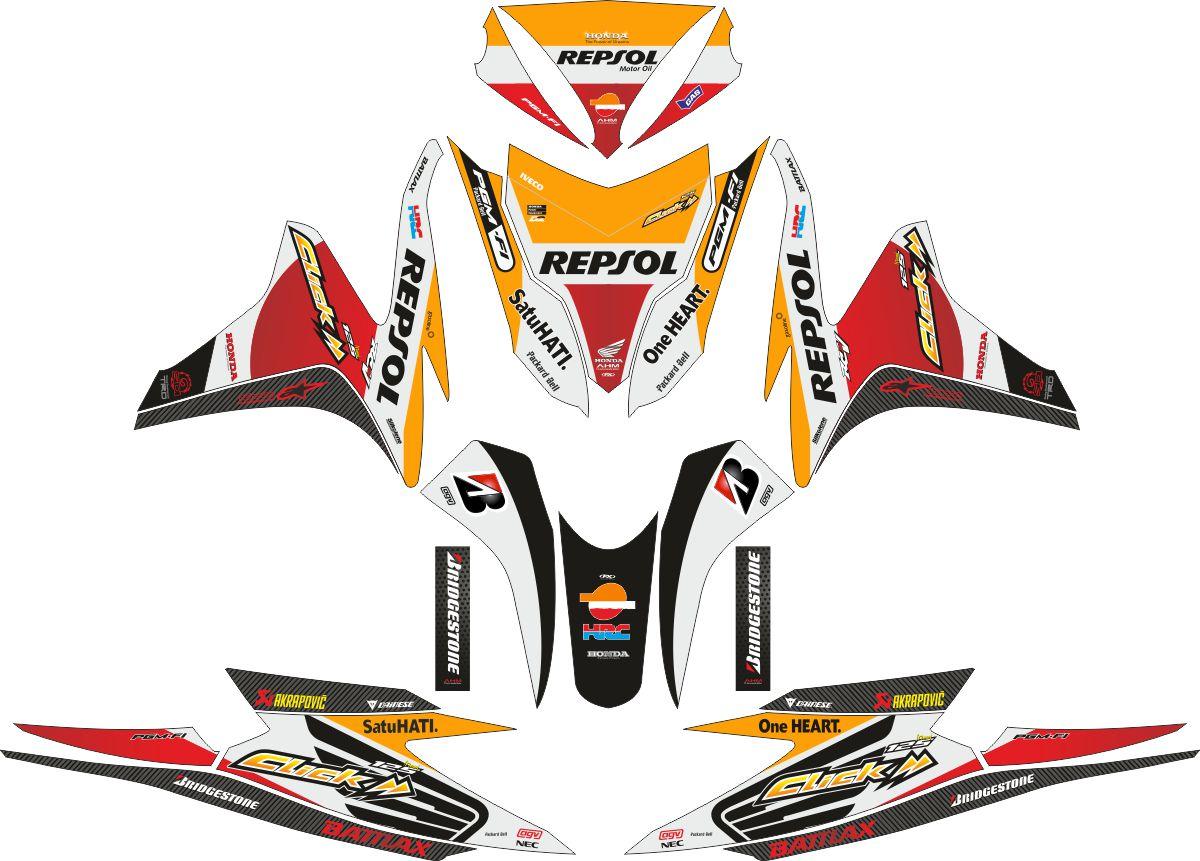 Комплект наклеек на скутер HONDA VARIO WHITE REPSOL