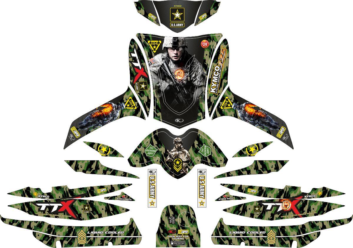 Комплект наклеек на скутер KYMCO FREE EX ARMY