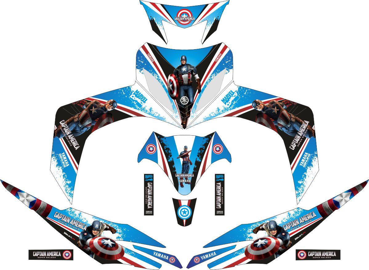 Комплект наклеек на скутер YAMAHA JUPITER MX CAPTAIN AMERICA