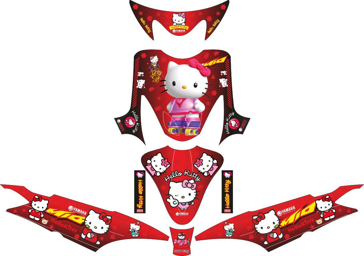 Комплект наклеек на скутер YAMAHA MIO HELLO KITTY RED 2010