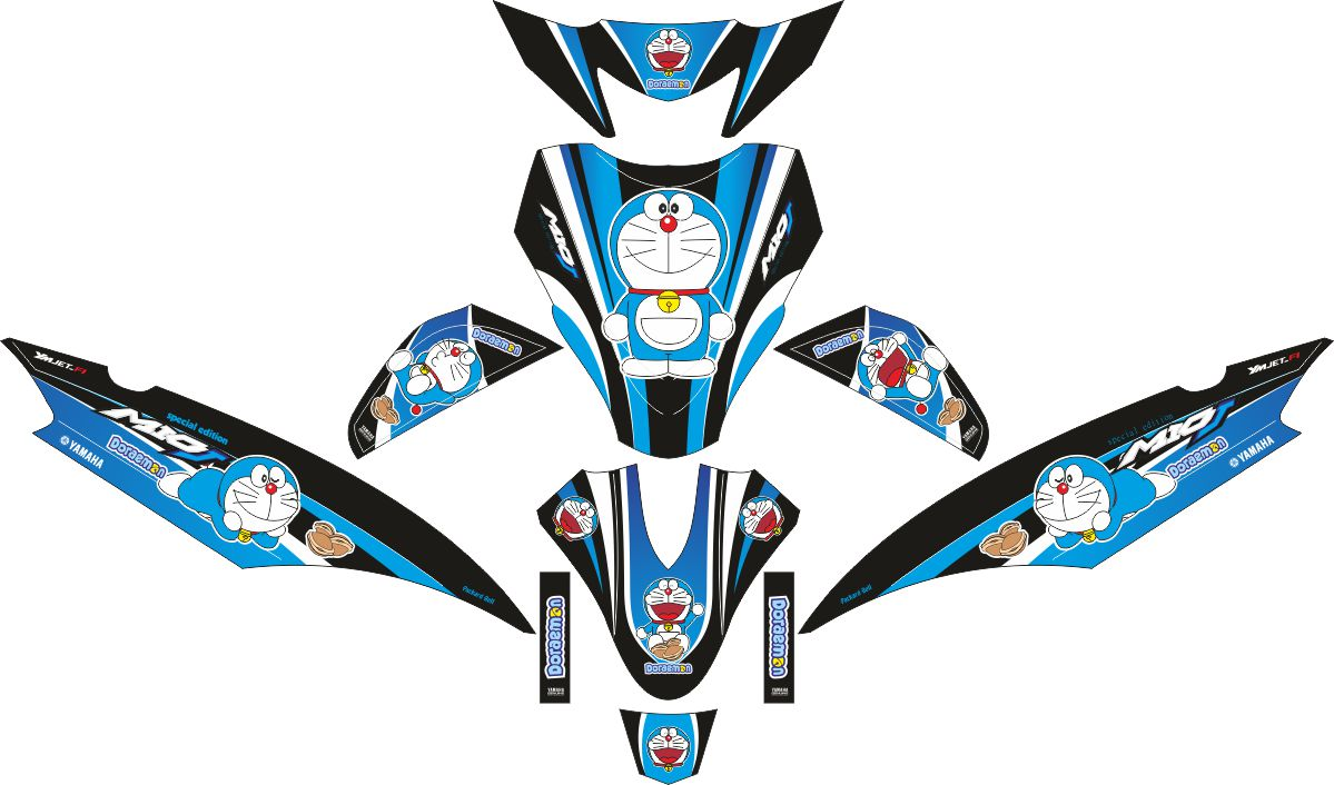 Комплект наклеек на скутер YAMAHA MIO J DORAEMON BLACK