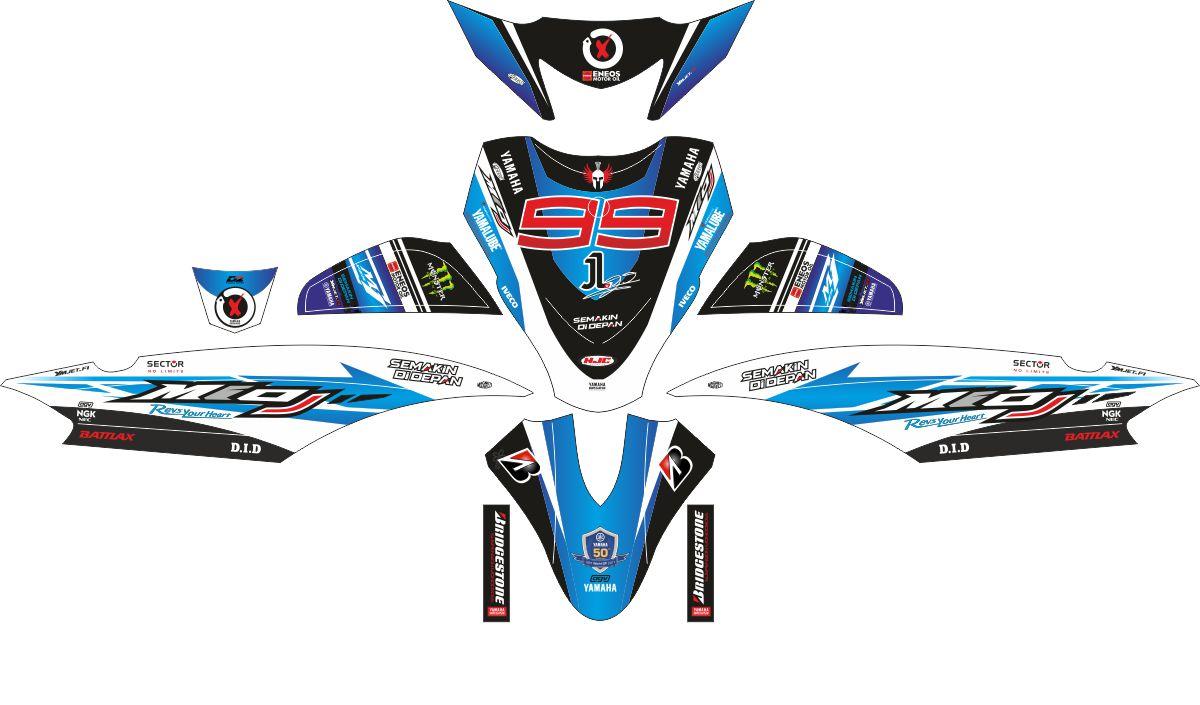 Комплект наклеек на скутер YAMAHA MIO J ENEOS BLUE