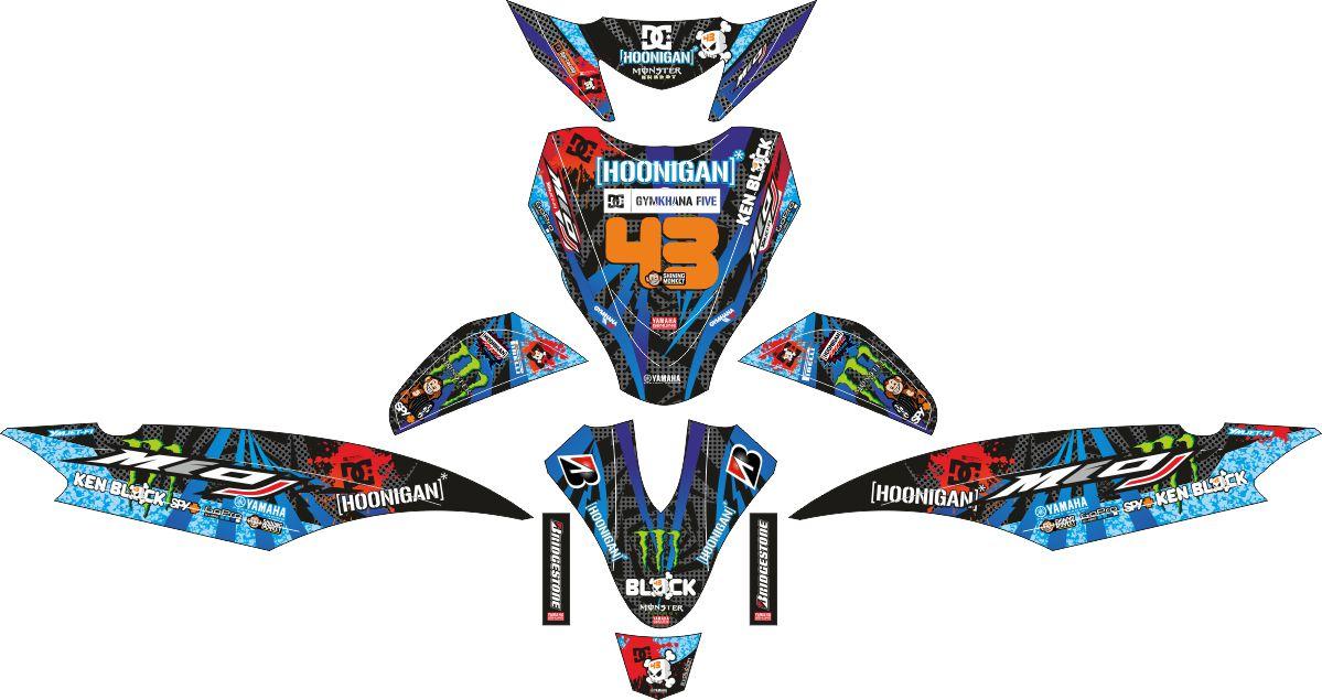 Комплект наклеек на скутер YAMAHA MIO J HOONIGANS BLUE