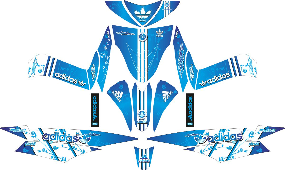 Комплект наклеек на скутер YAMAHA POLA MIO SOUL ADIDAS 2010