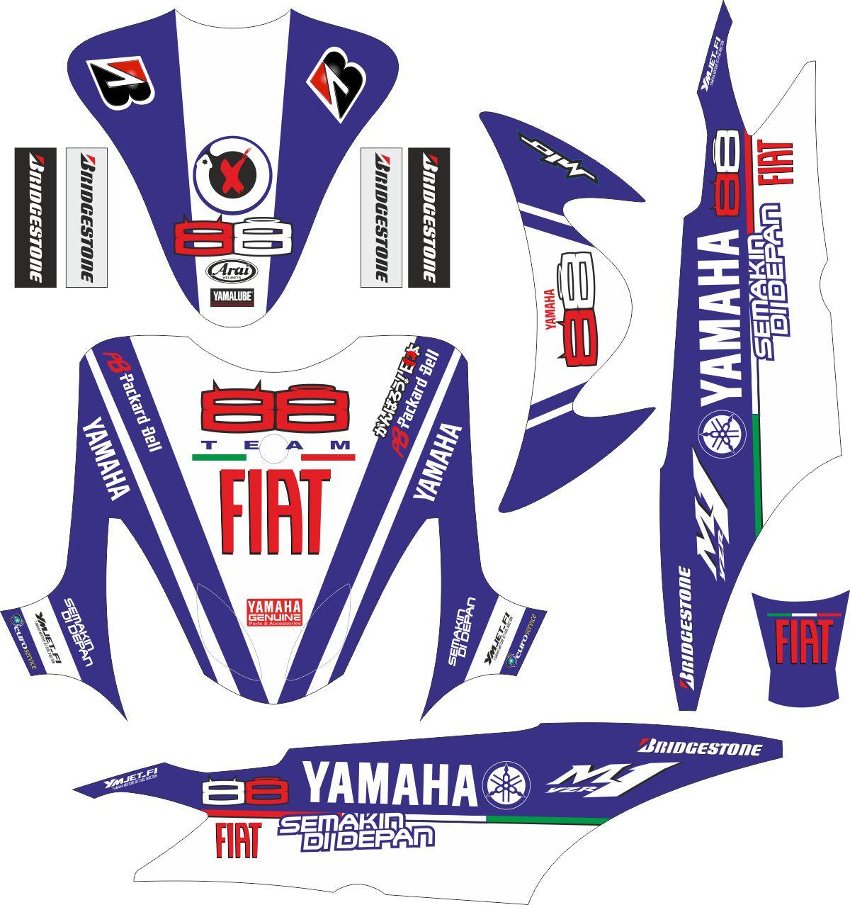 Комплект наклеек на скутер YAMAHA SIAP PRINT YAMAHA MIO PUTIH FIAT 88