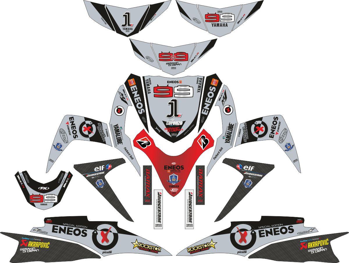 Комплект наклеек на скутер YAMAHA SOUL GT NEW LORENZO BLACK