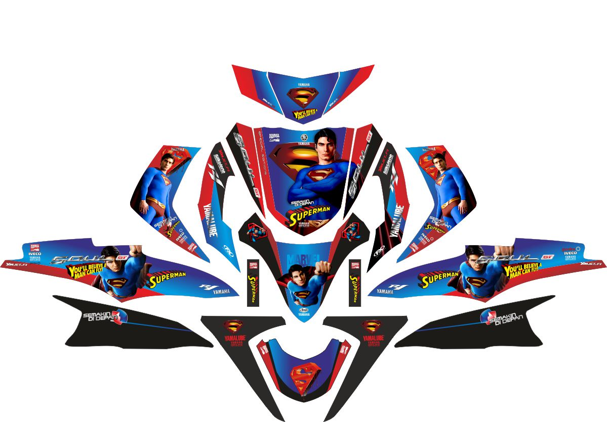 Комплект наклеек на скутер YAMAHA SOUL GT SUPERMAN