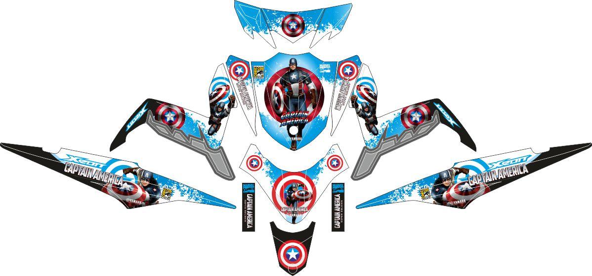 Комплект наклеек на скутер YAMAHA XEON GT 125 CAPTAIN AMERIKA