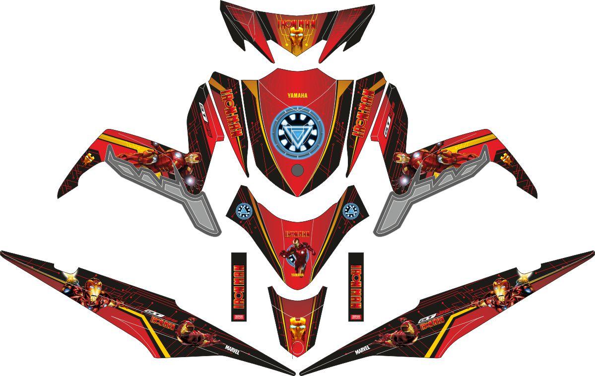 Комплект наклеек на скутер YAMAHA XEON GT 125 IRONMAN RED