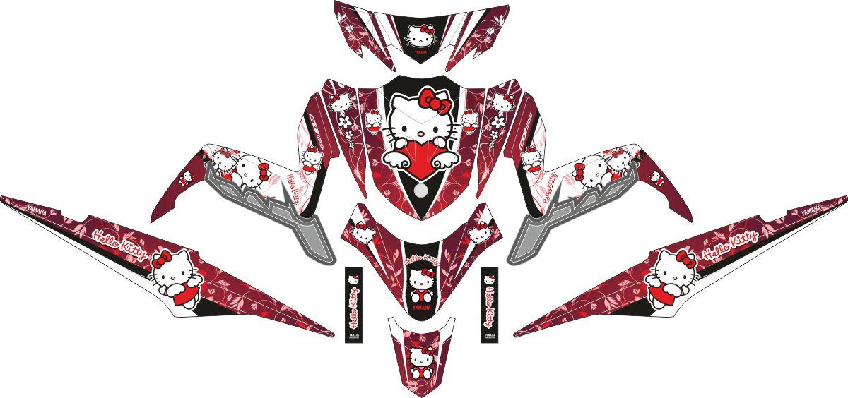 Комплект наклеек на скутер YAMAHA XEON GT 125 RED HELLO KITTY