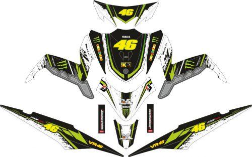 Комплект наклеек на скутер YAMAHA XEON GT ROSSI MONSTER ENERGY GREEN