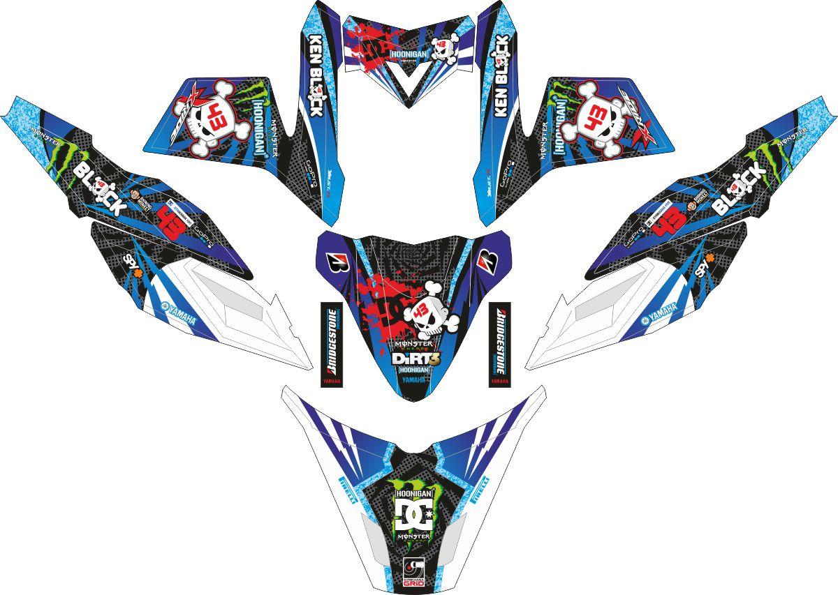 Комплект наклеек на скутер YAMAHA X RIDE KENBLOCK BLUE WHITE