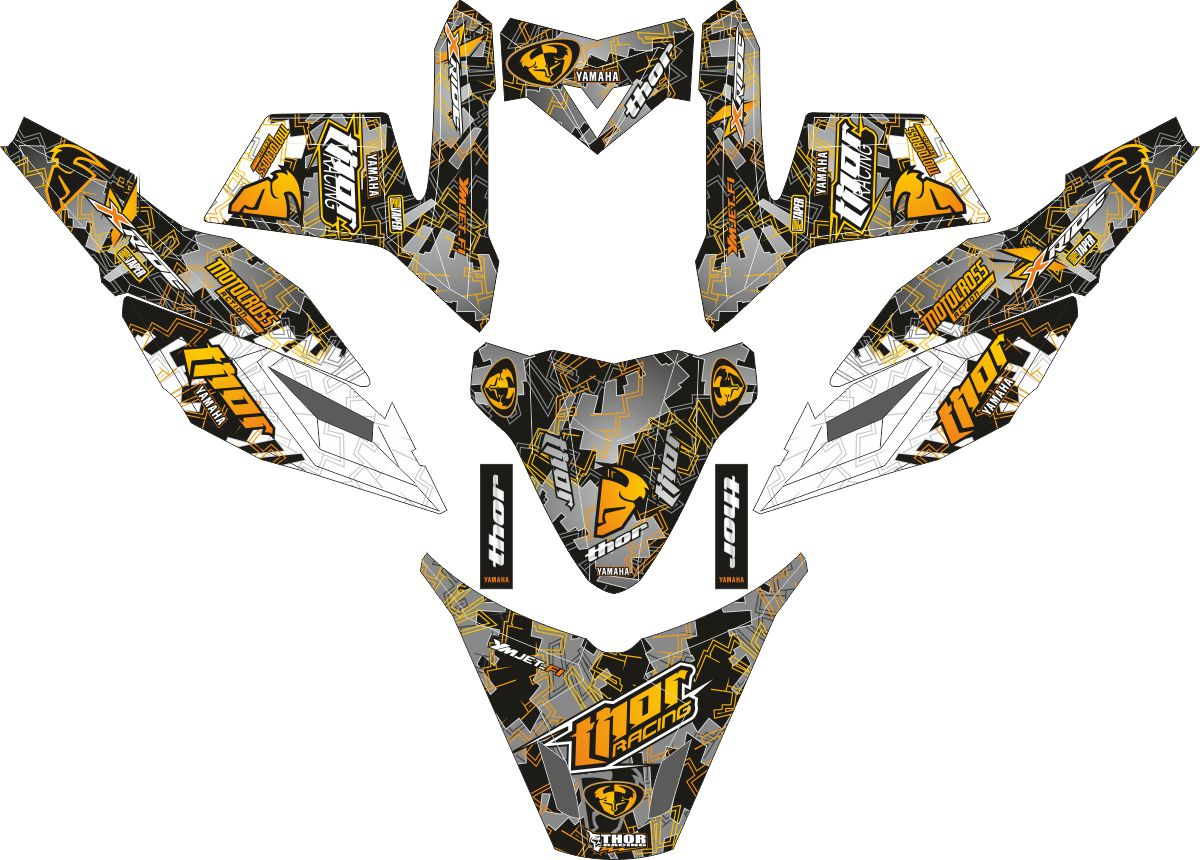 Комплект наклеек на скутер YAMAHA X RIDE THOR BLACK GREY