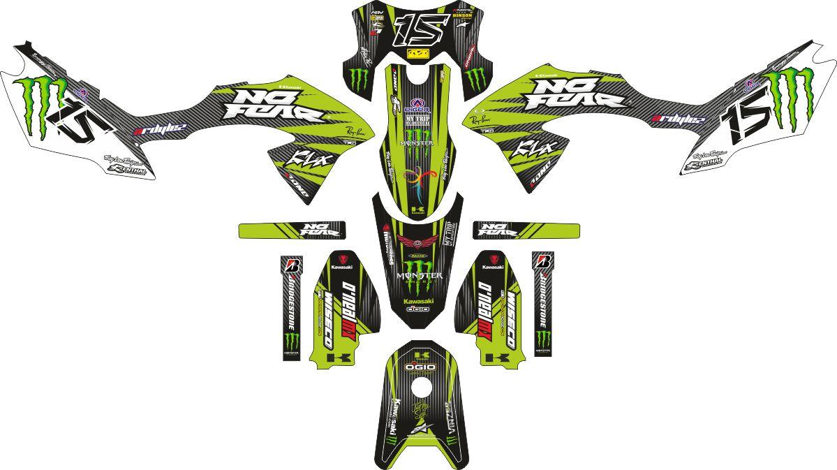 Комплект наклеек на скутер KAWASAKI KLX 2015 BF NO FEAR1