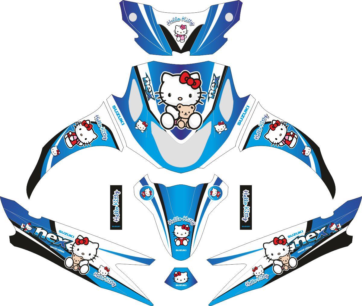 Комплект наклеек на скутер SUZUKI NEX HELLO KITTY BLUE